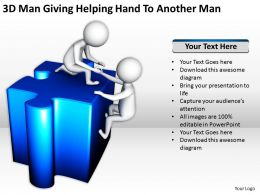3D Man Giving Helping Hand To Another Manppt Graphics Icons Powerpoint