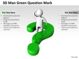 3D Man Green Question Mark Ppt Graphics Icons