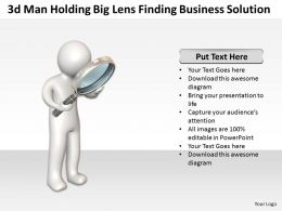3d man holding Big lens finding Business Solution Ppt Graphic Icon