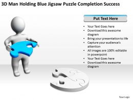 3D Man Holding Blue Jigsaw Puzzle Completion Success Ppt Graphics Icons