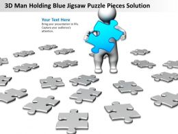 3D Man Holding Blue Jigsaw Puzzle Pieces Solution Ppt Graphics Icons