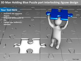 3D Man Holding Blue Puzzle part interlocking Jigsaw design Ppt Graphics Icons