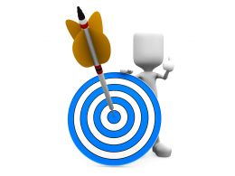 3d Man Holding Blue Target Dart With Arrow Hitting The Target Stock Photo