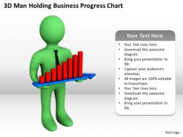 3D Man Holding Business Progress Chart Ppt Graphics Icons Powerpoint