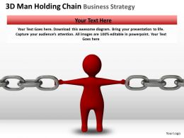 3D Man Holding Chain Business Strategy Ppt Graphics Icons