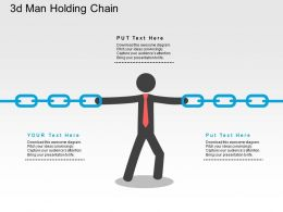 3d Man Holding Chain Flat Powerpoint Design