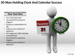 3D Man Holding Clock And Calendar Success Ppt Graphics Icons Powerpoint