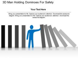 3d Man Holding Dominoes For Safety Flat Powerpoint Design