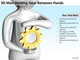 3D Man Holding Gear Between Hands Ppt Graphics Icons PowerPoint