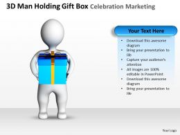 3D Man Holding Gift Box Celebration Marketing Ppt Graphics Icons