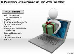 3D Man Holding Gift Box Popping Out From Screen Technology Ppt Graphics Icons Powerpoin