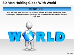 3D Man Holding Globe With World Ppt Graphics Icons