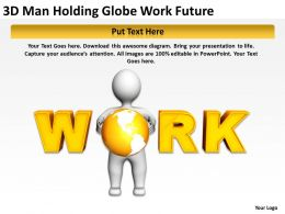 3D Man Holding Globe Work Future Ppt Graphic Icon