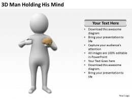 3D Man Holding His Mind Ppt Graphics Icons