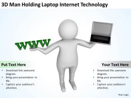 3D Man Holding Laptop Internet Technology Ppt Graphics Icons