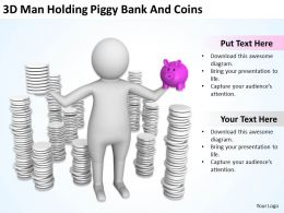 3D Man Holding Piggy Bank And Coins Ppt Graphics Icons Powerpoint