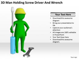 3D Man Holding Screw Driver And Wrench Ppt Graphics Icons Powerpoint