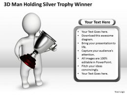3D Man Holding Silver Trophy Winner Ppt Graphics Icons