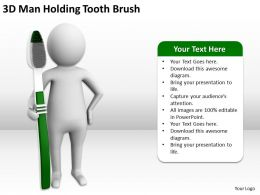 3D Man Holding Tooth Brush Ppt Graphics Icons Powerpoint