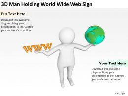 3D Man Holding World Wide Web Sign Ppt Graphics Icons