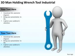 3D Man Holding Wrench Tool Industrial Ppt Graphics Icons Powerpoint