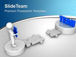 3d Man Holds Puzzle To Reach Team Business Powerpoint Templates Ppt Themes And Graphics 0113