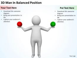 3D Man In Balanced Position Ppt Graphics Icons