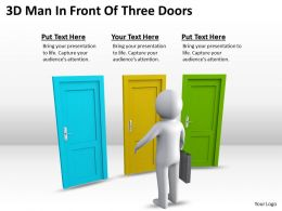 3D Man In Front Of Three Doors Ppt Graphics Icons
