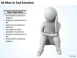 3D Man In Sad Emotion Ppt Graphics Icons