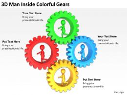 3D Man Inside Colorful Gears Ppt Graphics Icons Powerpoint