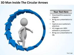 3D Man Inside The Circular Arrows Ppt Graphics Icons