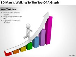 3D Man Is Walking To The Top Of A Graph Ppt Graphics Icons