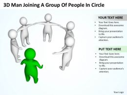 3D Man Joining A Group Of People In Circle Cooperation Ppt Graphics Icons