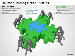 3D Man Joining Green Puzzles Ppt Graphics Icons Powerpoint