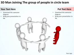 3D Man Joining The group of people in circle team Ppt Graphics Icons