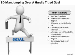 3D Man Jumping Over A Hurdle Titled Goal Ppt Graphics Icons Powerpoint