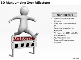 3D Man Jumping Over Milestone Ppt Graphics Icons Powerpoint