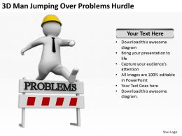 3D Man Jumping Over Problems Hurdle Ppt Graphics Icons Powerpoint