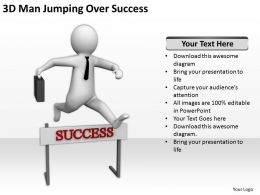 3D Man Jumping Over Success Ppt Graphics Icons Powerpoint
