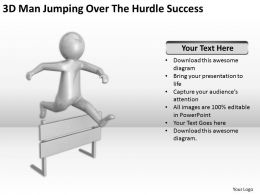 3D Man Jumping Over The Hurdle Success Ppt Graphics Icons Powerpoin