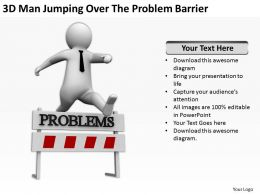 3D Man Jumping Over The Problem Barrier Ppt Graphics Icons Powerpoint