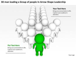 3D man leading a Group of people In Arrow Shape Leadership Ppt Graphic Icon