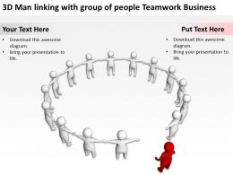 3D Man linking with group of people Teamwork Business Ppt Graphics Icons