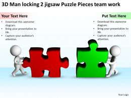 3D Man locking 2 jigsaw Puzzle Pieces team work Ppt Graphics Icons