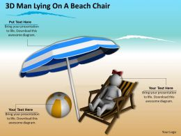 3d Man Lying On A Beach Chair Ppt Graphics Icons Powerpoint