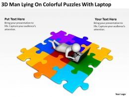 3D Man Lying On Colorful Puzzles With Laptop Ppt Graphics Icons