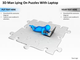 3D Man Lying On Puzzles With Laptop Ppt Graphics Icons Powerpoint