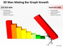 3D Man Making Bar Graph Growth Ppt Graphics Icons Powerpoint