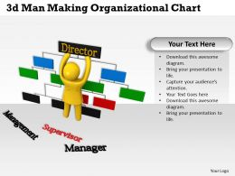 3d Man Making Organizational Chart Ppt Graphics Icons Powerpoint