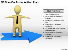 3D Man On Arrow Action Plan Ppt Graphics Icons Powerpoint